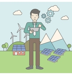 Man with solar panels and wind turbines vector