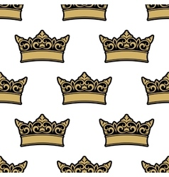 Royal golden crowns seamless pattern vector