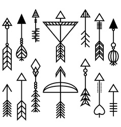 Arrows and bow set vector