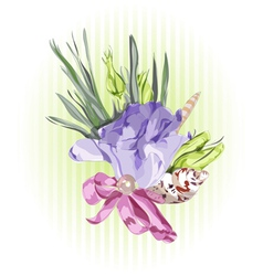Floral decor with eustoma vector