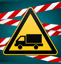 beware of the car safety warning sign vector image vector image