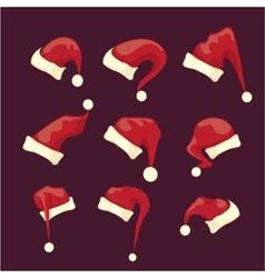 Cartoon red santa claus hat collection vector