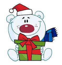 Christmas Polar Bear Holding A Gift vector image vector image