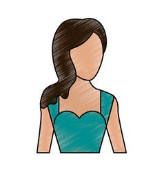 Color pencil silhouette faceless half body woman vector