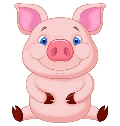 Cute baby pig cartoon sitting vector