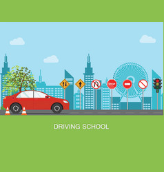 Driving school with car and traffic sign vector