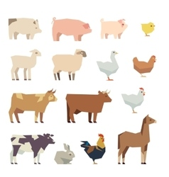 Farm animals flat icons vector image vector image