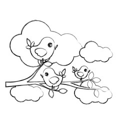 Figure birds in the branches trees and cloud icon vector