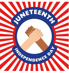 Hands together to celebrate independence day vector