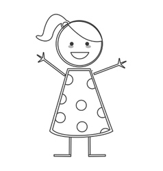 happy girl icon stick figure vector image vector image
