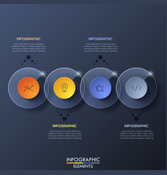 infographic design template with 4 overlapped vector image vector image
