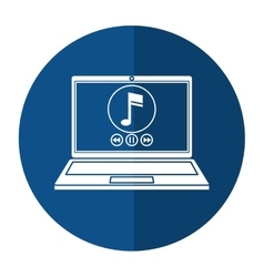 Laptop music player app modern shadow vector