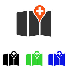 Medical map flat icon vector