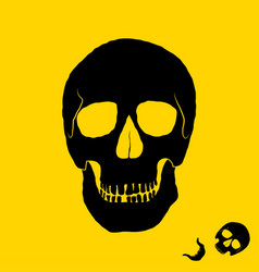 monochrome of skull on yellow vector image vector image