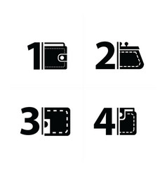 number and wallet set vector image vector image