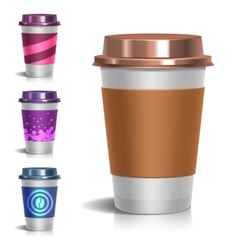 Realistic paper take-out coffee cup vector