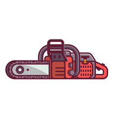 red chain saw icon vector image