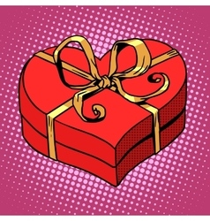 Red gift box in heart shape love valentines day vector