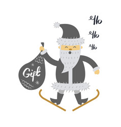 santa claus on ski with gift bag screaming hohoho vector image