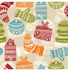 Seamless holiday winter pattern vector