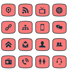 set of simple social icons vector image