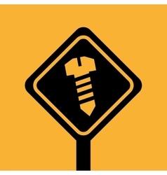Silhouette house repair screw icon design vector