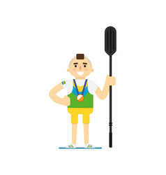 Smiling canoe rowing sportsman with medal vector