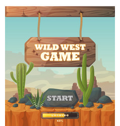 start screen for wild west web or mobile game vector image vector image