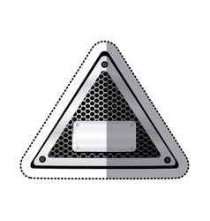 sticker triangle metallic frame with grill vector image