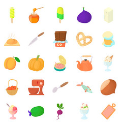 Sweet ice cream icons set cartoon style vector