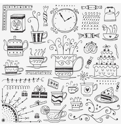 Tea and coffee cups doodles vector image vector image