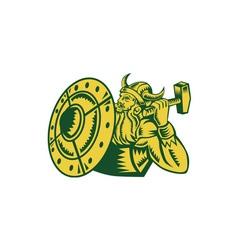 Viking Warrior Hammer Shield Woodcut vector image