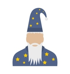 Wizard in a hat with stars flat vector
