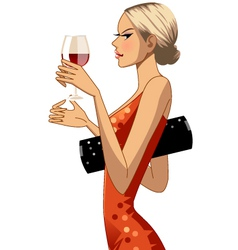 woman with wine vector image