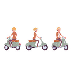 young woman riding a scooter vector image