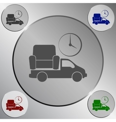 Flat paper cut style icon of vehicle delivering vector