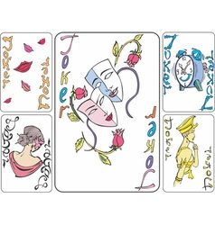 Set of playing joker cards vector