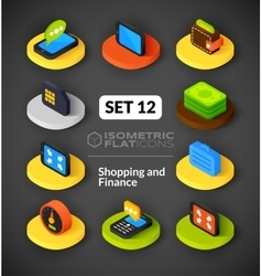 Isometric flat icons set 12 vector