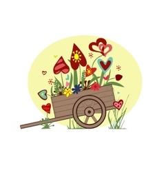 Floral arrangement from hearts in the cart on a vector