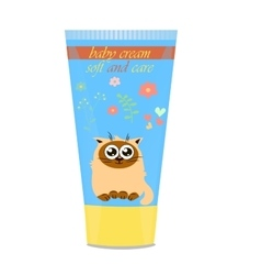 Baby cream tube with kids design vector
