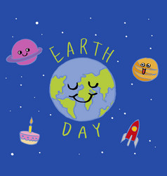 Earth day typography cartoon vector