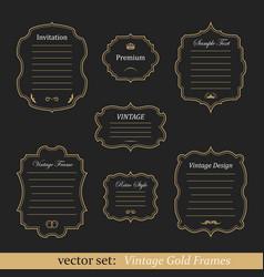 Set of vintage gold frames vector