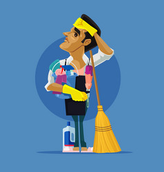Sad tired man character cleaning house vector