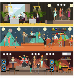 Set of night club concerts flat posters vector
