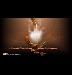 digital steaming coffee background with vector image
