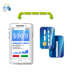 mobile payment with phone app and cards vector image