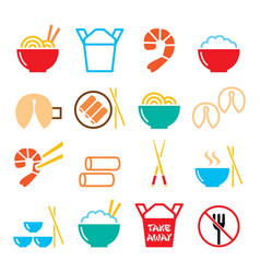 Chinese take away food icons - pasta rice vector