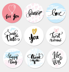 Set stickers wedding and love vector