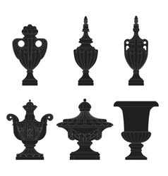 set of classic urns planters vector image