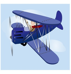 Flying vintage airplane vector